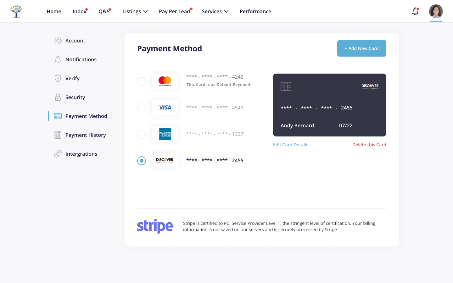 Dashboard - Payment Method