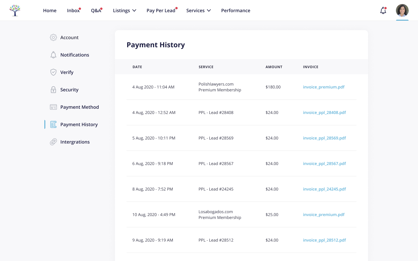 Dashboard - Payment History